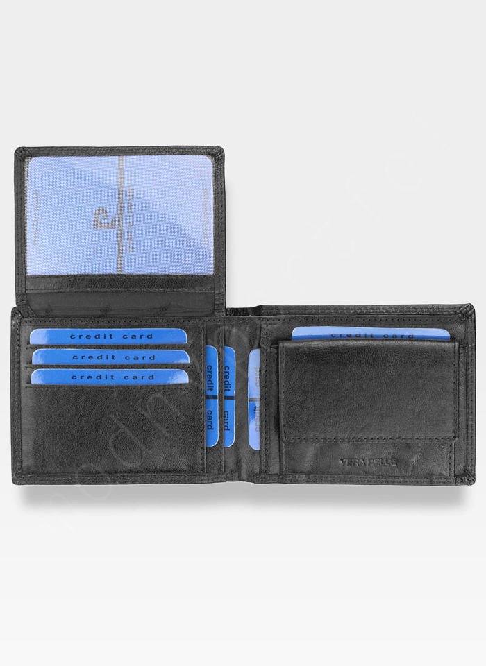 Portfel Męski Pierre Cardin Skórzany Bezpieczny Portfel RFID STOP Czarny Lucas05 8806