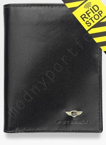 Bezpieczny Portfel Męski Skórzany Peterson Skóra Naturalna System RFID 342