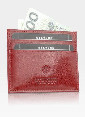 Etui Skórzane Na Karty SLIM Portfe  Cardholder Stevens Czerwone
