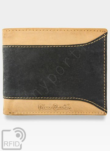 Mały I Cienki Portfel Męski Pierre Cardin Czarno Brązowy Skórzany HUNTER 8824 Wbudowana ochrona RFID