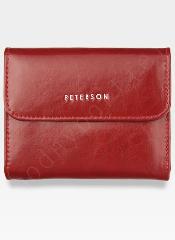 PETERSON Portfel Damski Skórzany Mały Czerwony PL441