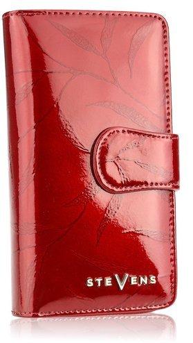 PORTFEL DAMSKI  SKÓRZANY DUŻY LAKIEROWANY STEVENS Czerwony w Liście 116