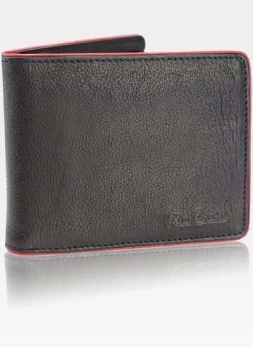 Pierre Cardin Portfel Męski Skórzany Poziomy Tumble 88061 czarny+czerwony