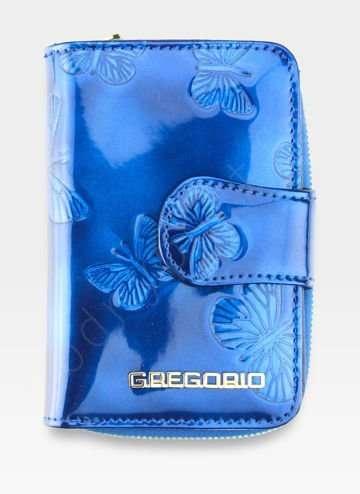 Portfel Damski Gregorio Skórzany Skóra Naturalna Niebieskie Motyle BT115