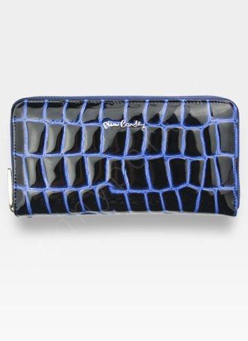 Portfel Damski Pierre Cardin Skórzany Duży Podwójny Suwak Niebieski Linia Coco 118