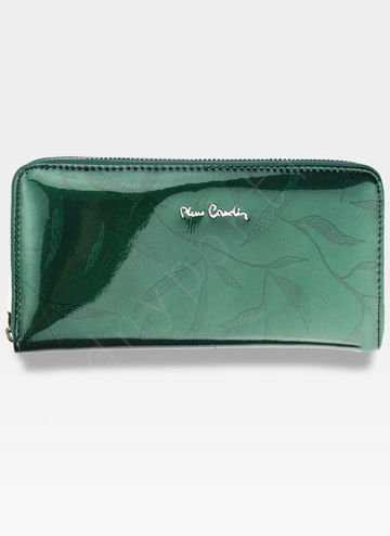 Portfel Damski Pierre Cardin Skórzany Duży Podwójny Suwak Zielony w Liście 118