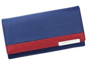 Portfel Damski Skórzany Gregorio FRZ-100 niebieski + czerwony Skóra Naturalna