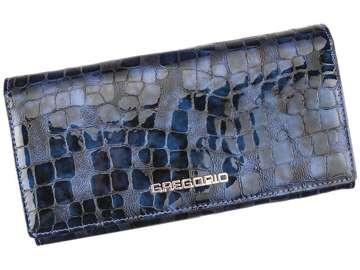 Portfel Damski Skórzany Gregorio FS-100 niebieski Skóra Naturalna Lakierowana