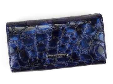 Portfel Damski Skórzany Gregorio FZ-107 niebieski Skóra Naturalna Lakierowana