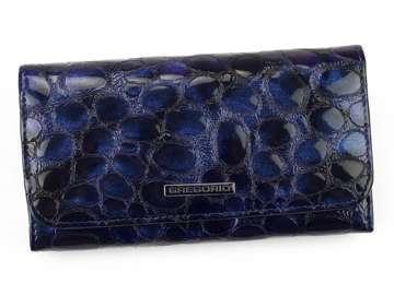 Portfel Damski Skórzany Gregorio FZ-110 niebieski Skóra Naturalna Lakierowana