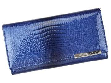 Portfel Damski Skórzany Gregorio GF106 niebieski Skóra Naturalna Lakierowana