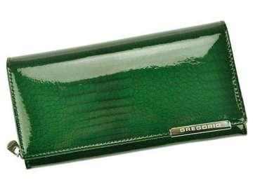 Portfel Damski Skórzany Gregorio GF106 zielony Skóra Naturalna Lakierowana