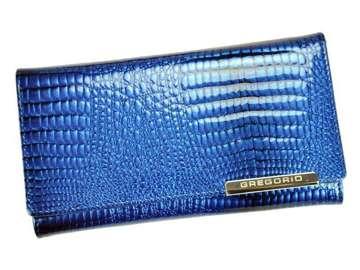 Portfel Damski Skórzany Gregorio GF114 niebieski Skóra Naturalna Lakierowana