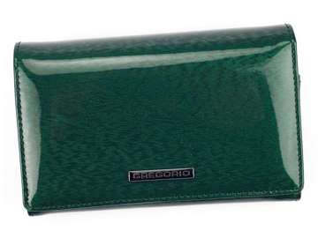 Portfel Damski Skórzany Gregorio PT-112 zielony Skóra Naturalna Lakierowana