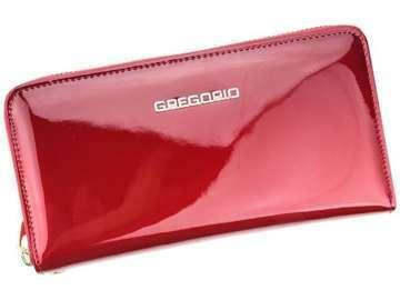 Portfel Damski Skórzany Gregorio SH-118 czerwony Skóra Naturalna Lakierowana