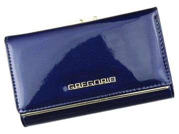 Portfel Damski Skórzany Gregorio ZLL-108 ciemny niebieski Skóra Naturalna Lakierowana