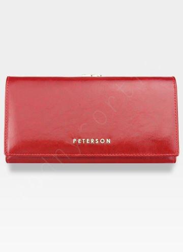 Portfel Damski Skórzany PETERSON 721 Czerwony Portmonetka