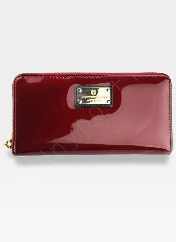 Portfel Damski Skórzany PETERSON 781 Czerwony Lakierowany RFID STOP