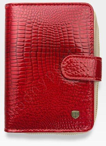 Portfel Damski Skórzany PETERSON Lakierowany 602 Czerwony + Beż