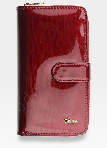 Portfel Damski Skórzany PETERSON Lakierowany Bardzo Pojemny Czerwony 603