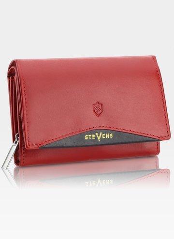 Portfel Damski Skórzany STEVENS Czerwony z Zabezpieczeniem RFID Z02/RB