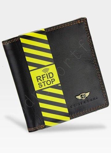 Portfel Męski Peterson Skórzany 377 Brązowy RFID STOP Piekiełko