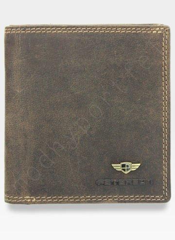 Portfel Męski Peterson Skórzany 377 Jasny Brąz Piekiełko
