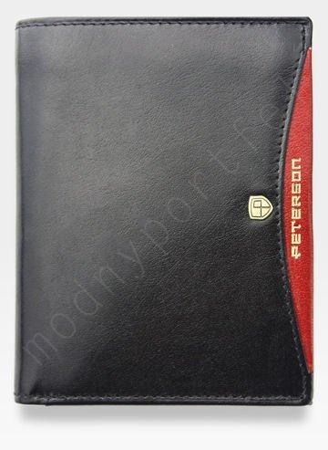 Portfel Męski Peterson Skórzany Czarny + Czerwony 302 SLIM Cienki