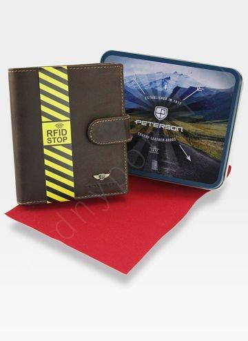 Portfel Męski Peterson Skórzany Zapinany System RFID STOP Brązowy 301