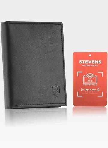 Portfel Męski  Skórzany STEVENS Czarny RFID Secure TAP&GO
