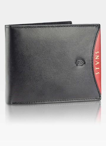Portfel Męski Skórzany STEVENS Ochrona RFID Czarny + Czerwony Młodzieżowy