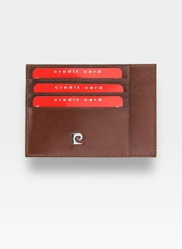 Portfel Skórzany Cardholder Męski Pierre Cardin Slim Brąz Etui P020
