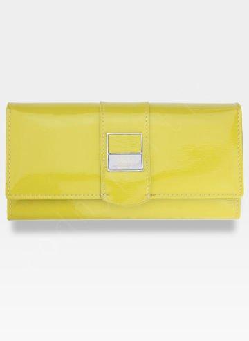 Portfel Żółty Błyszczący Damski Skórzany PETERSON Skóra Naturalna Lakierowana Bigiel 705