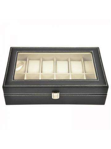 Pudełko Skórzane na Zegarki Oranizer Kuferek Czarny