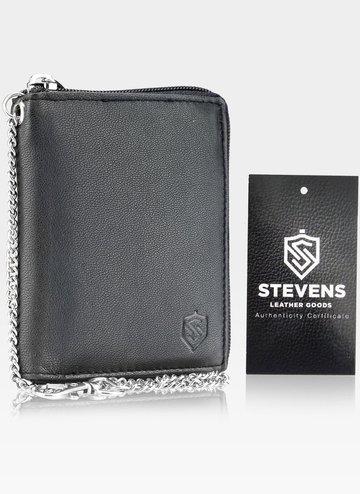 Skórzany portfel męski duży na suwak STEVENS z łańcuszkiem