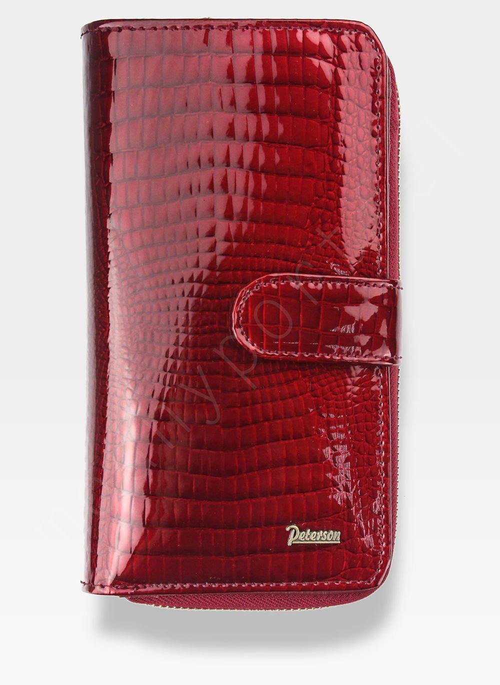 37b380c0d39a7 Portfel Damski Skórzany PETERSON Lakierowany 603 Czerwony AE 603 Red ...