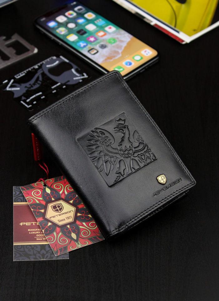 Bezpieczny Portfel Męski Skórzany Peterson Skóra Naturalna Czarny System RFID 342 Orzeł Patriotyczny