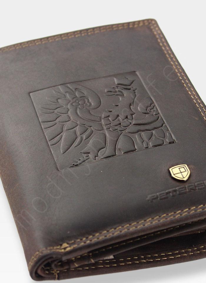Bezpieczny Portfel Męski Skórzany Peterson Skóra Naturalna Nubuk System RFID 342 Orzeł Patriotyczny