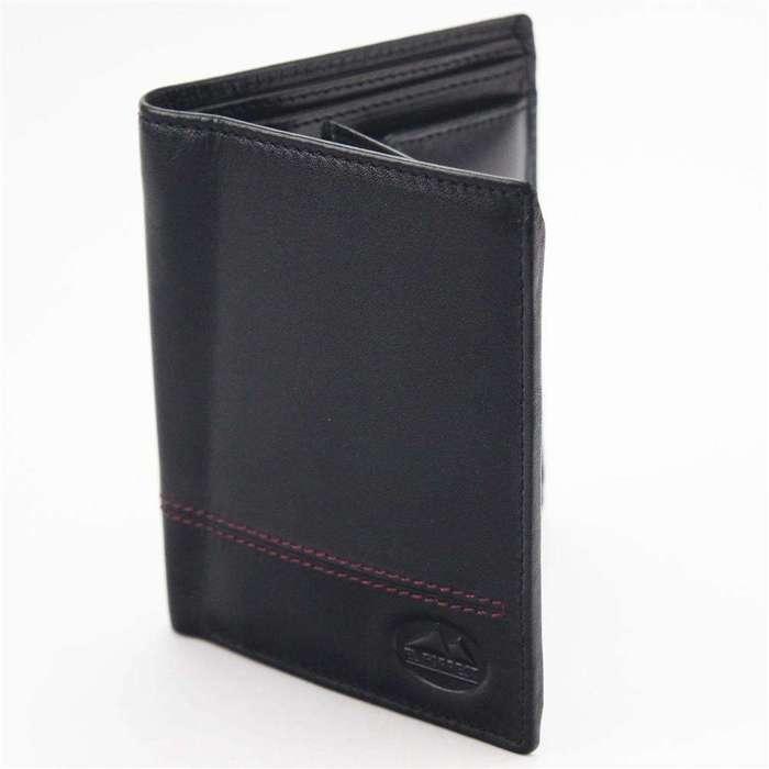 Klasyczny Portfel męski skórzany EL FORREST 1370-62 RFID czarny + czerwony