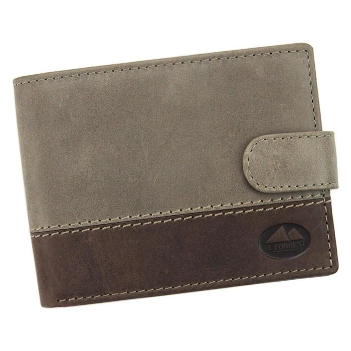 Klasyczny portfel męski skózany EL FORREST 892-02 RFID ciemny brąz
