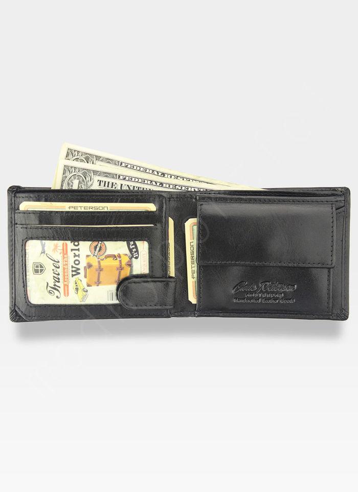 Kompaktowy Portfel Męski Peterson Skórzany Mały Zgrabny Poziomy Czarny 367