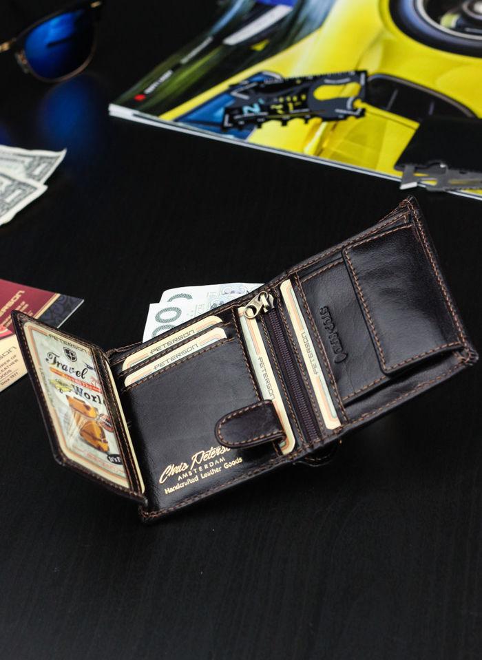 Kompaktowy Portfel Męski  Skórzany Peterson Ciemny Brąz 365  RFID STOP