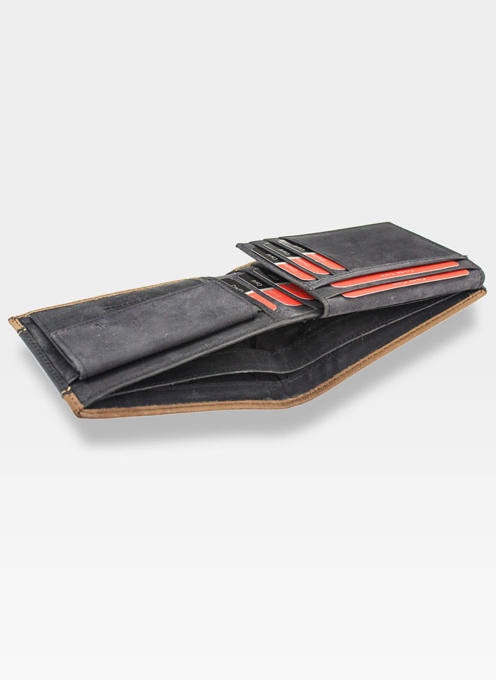 Mały I Cienki Portfel Męski Poziomy Pierre Cardin Brązowy Skórzany Hunter 8806