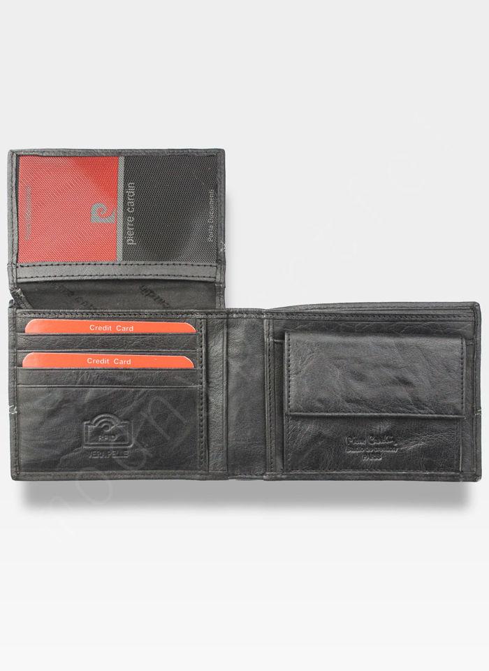 Modny Portfel Męski Pierre Cardin Oryginalny Skórzany Tilak24 8806 Czarny RFID
