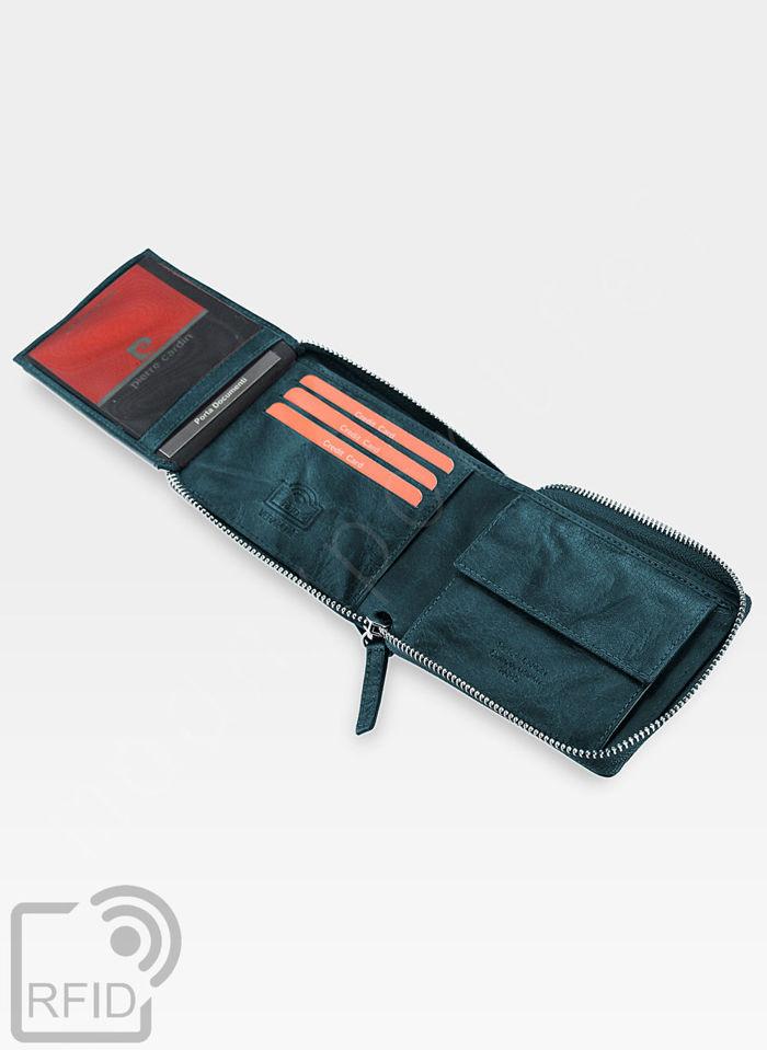 Oryginalny Portfel Męski Pierre Cardin Skórzany Zapinany Suwak Tilak12 8818 Niebieski RFID