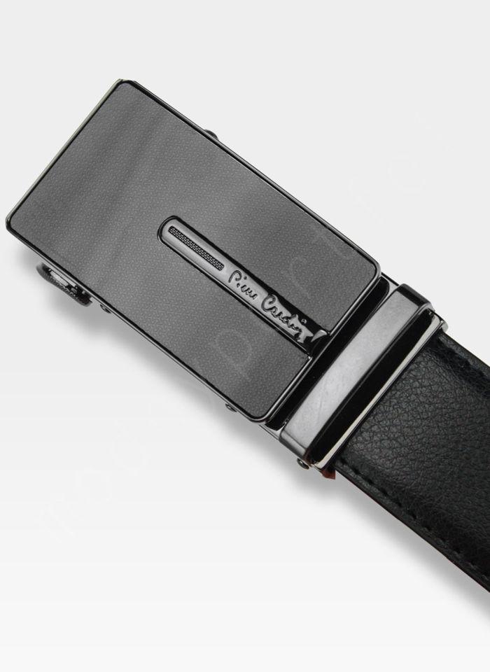 Pasek Skórzany Męski PIERRE CARDIN Czarny Metalowa Klamra Automatyczna 520