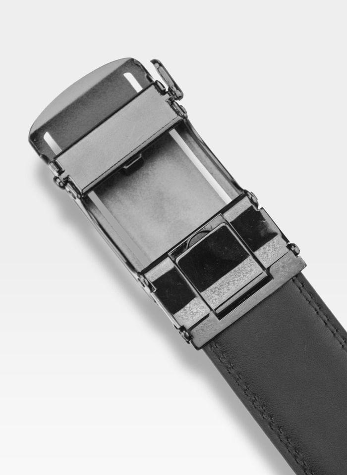 Pasek Skórzany Męski PIERRE CARDIN Czarny Metalowa Klamra Automatyczna 528