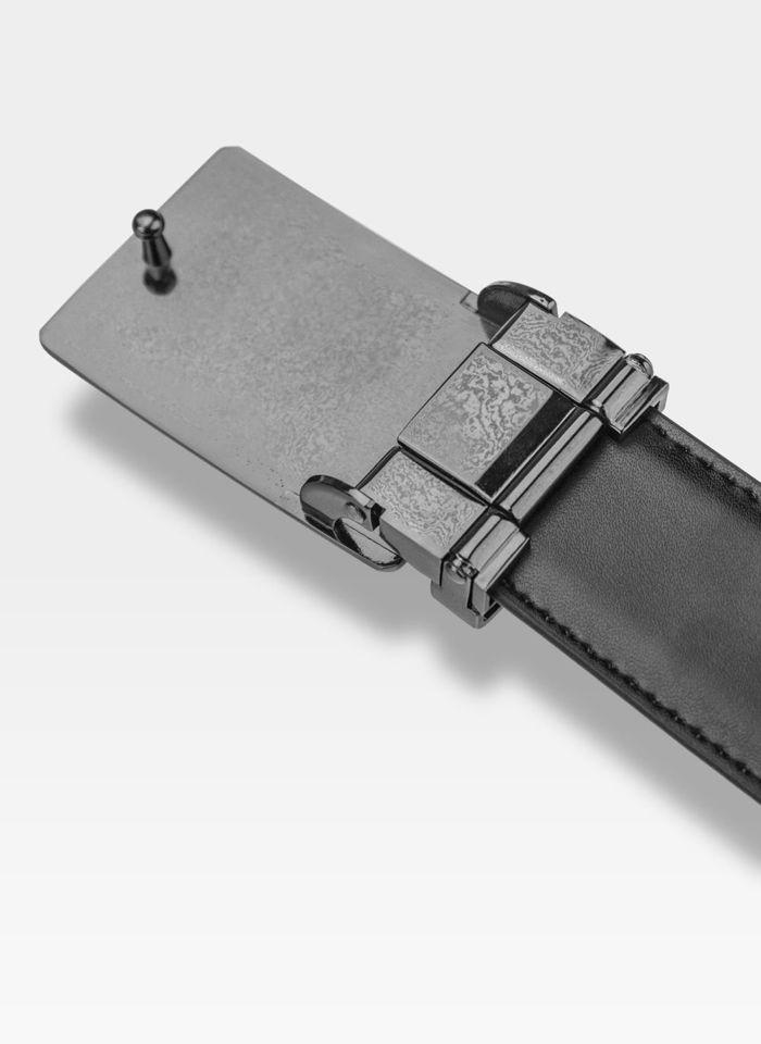 Pasek Skórzany Męski PIERRE CARDIN Czarny Metalowa Klamra Automatyczna 609