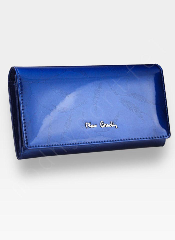 Portfel Damski Pierre Cardin Skórzany Niebieski w Liście 114
