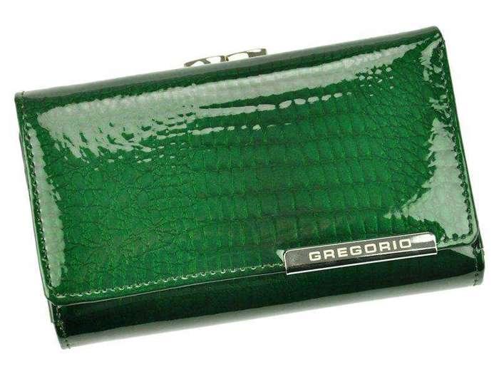 Portfel Damski Skórzany Gregorio GF108 zielony Skóra Naturalna Lakierowana